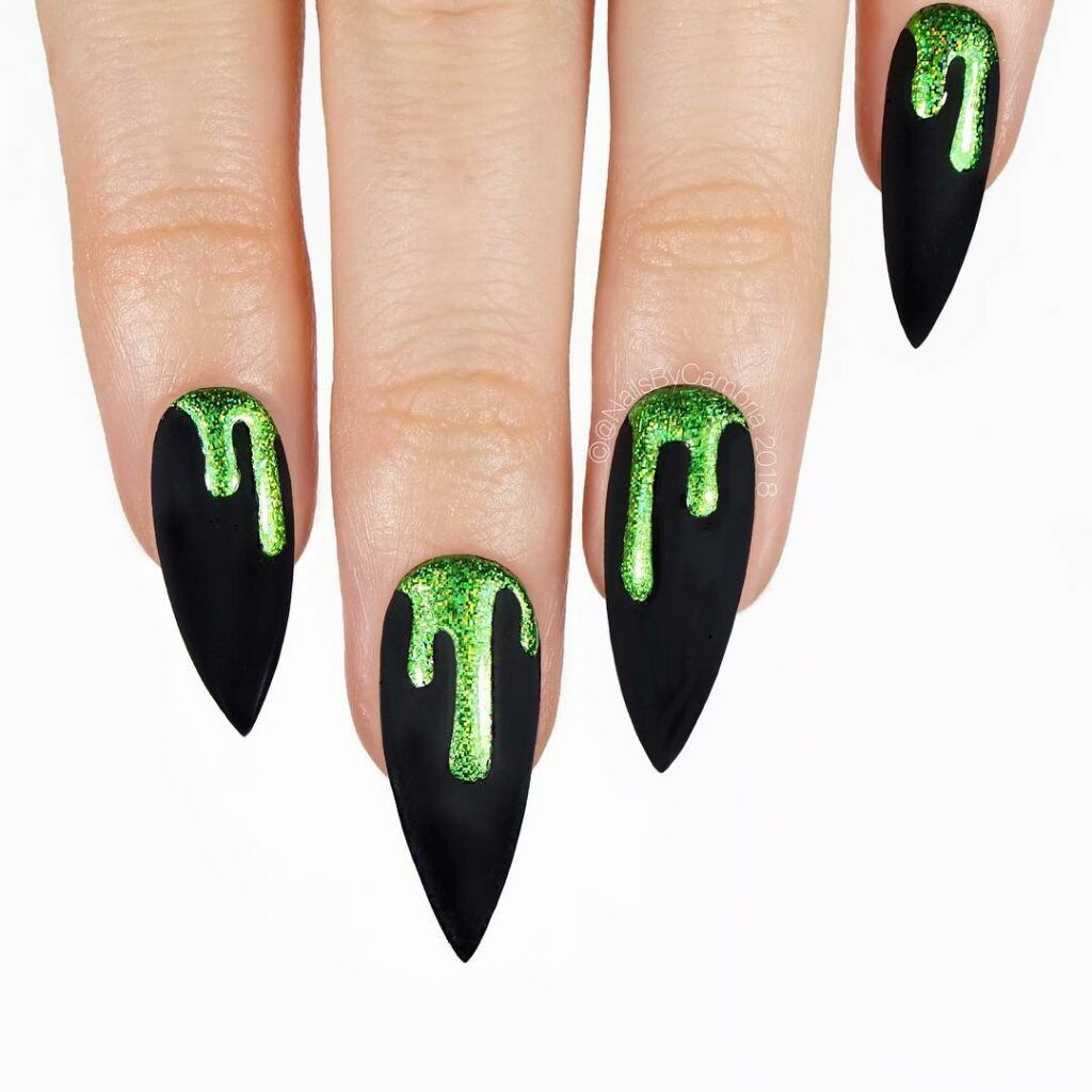 Green Nail Polish Black Decorations Cemetery Bats Spiders Webs Halloween Nail Ideas White Background In 2020 Halloween Nails Green Nails Halloween Nail Colors