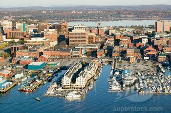 Superstock Stock Photography Aerial Of Downtown Portland Harbor And Portland Maine With View Of Maine Medical Center Commercial Street Old Port And Back Bay Portland Maine Downtown Portland Portland