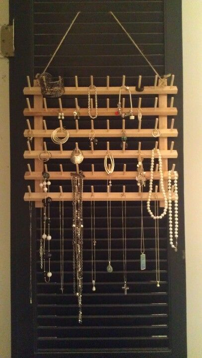 Thread holder from Walmart made into hanging jewelry organizer
