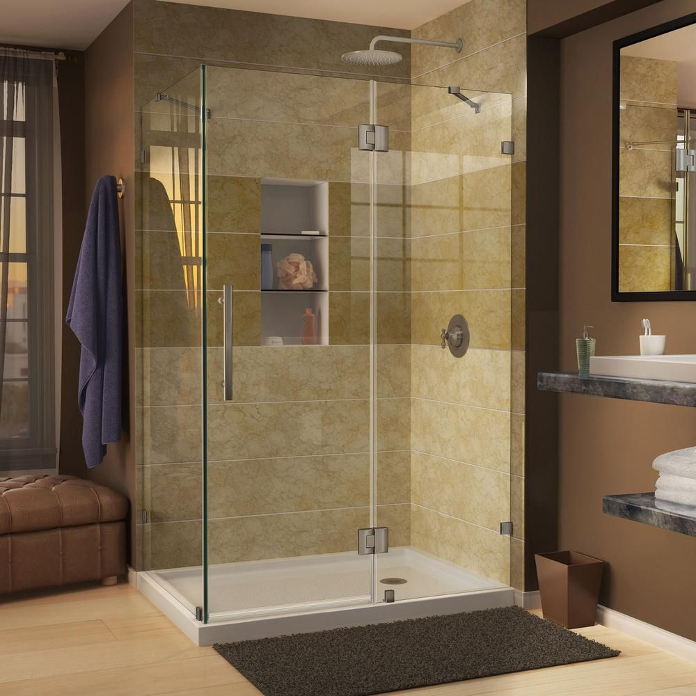 Dreamline Quatra Lux 46 3 8 In W X 34 1 4 In D X 72 In H Frameless Corner Hinged Shower Enclosure In Brushed Nickel Shen 1334460 04 Shower Enclosure Frameless Shower Enclosures Shower Doors