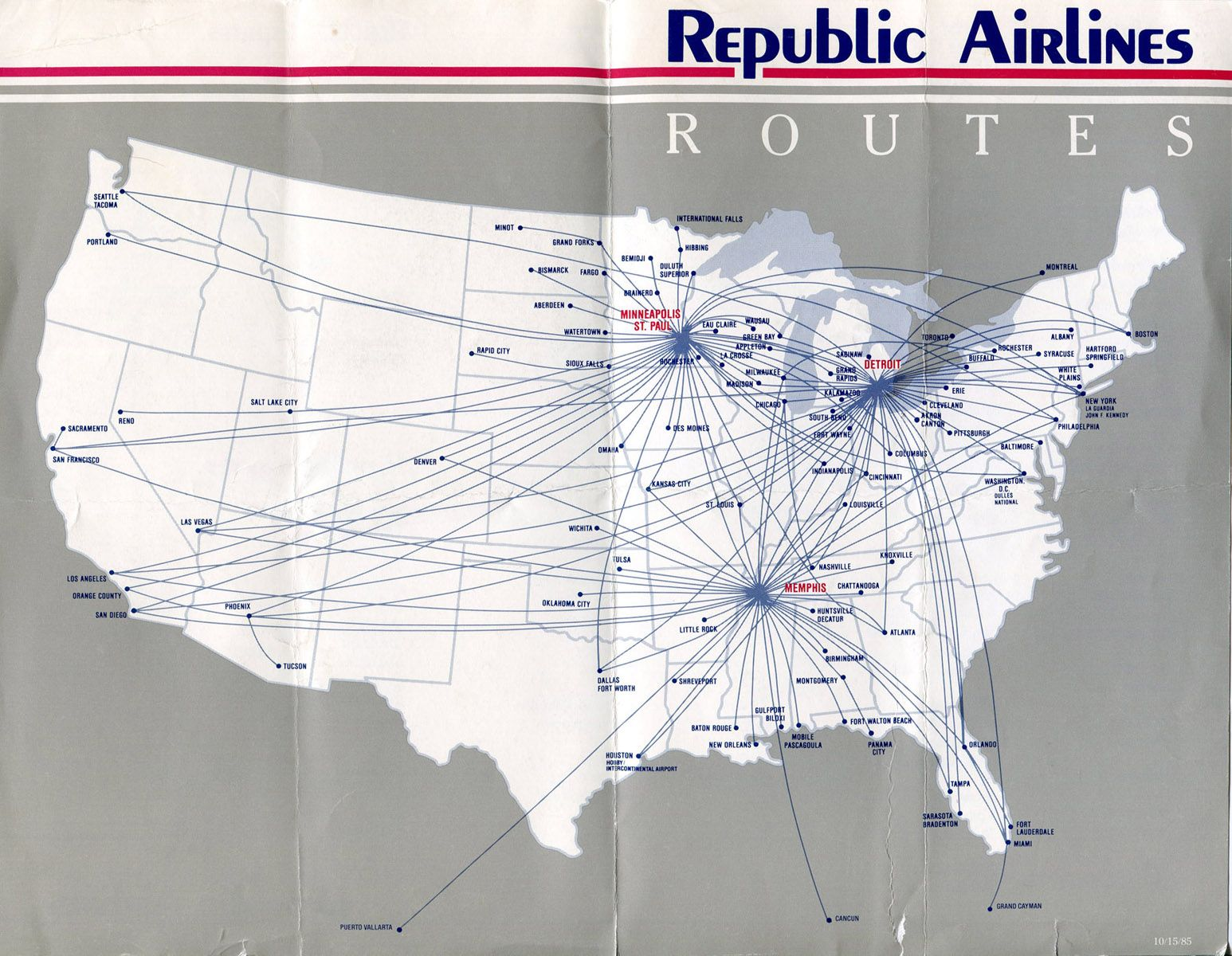 1986 Republic Airlines Timetables Route Maps History And