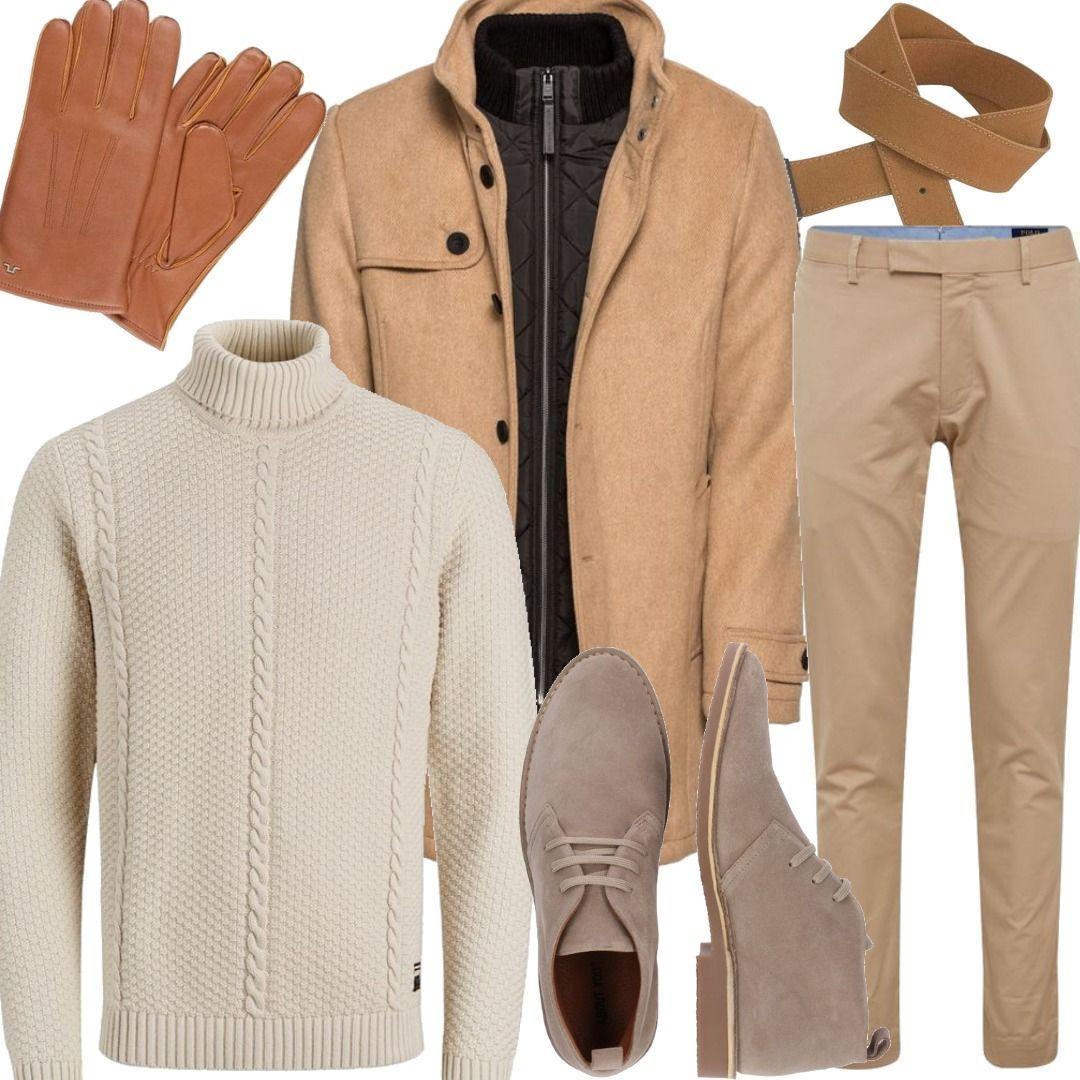 TOM TAILOR Mantel wool blend coat 2 in 1 sand Beige Men