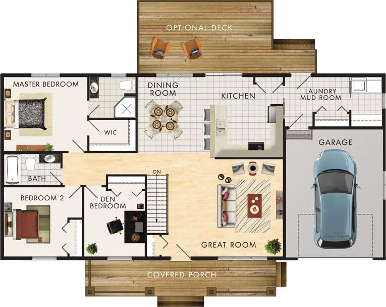 Kimberly II Floor Plan No basement I love this for a slightly