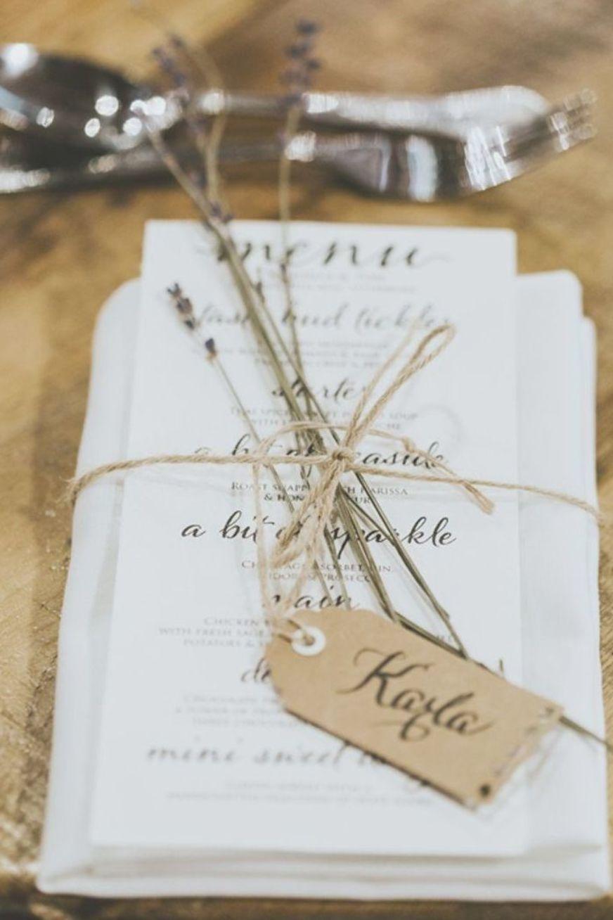 Menu Lavender Twine Luggage Tag Rustic Place Setting Le Petit Chateau Wedding Chris Randle Photography