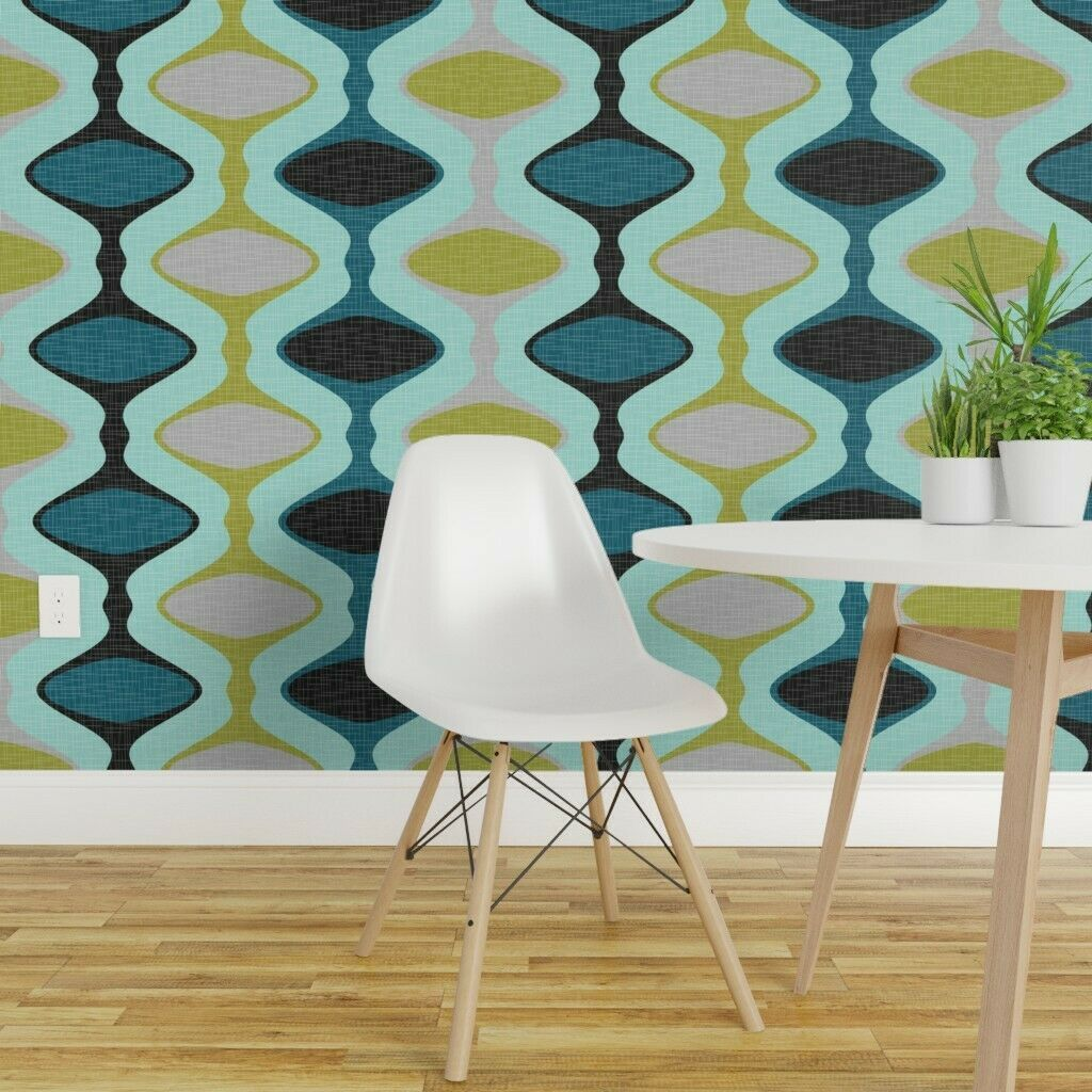 Removable WaterActivated Wallpaper Ogee Mid Century