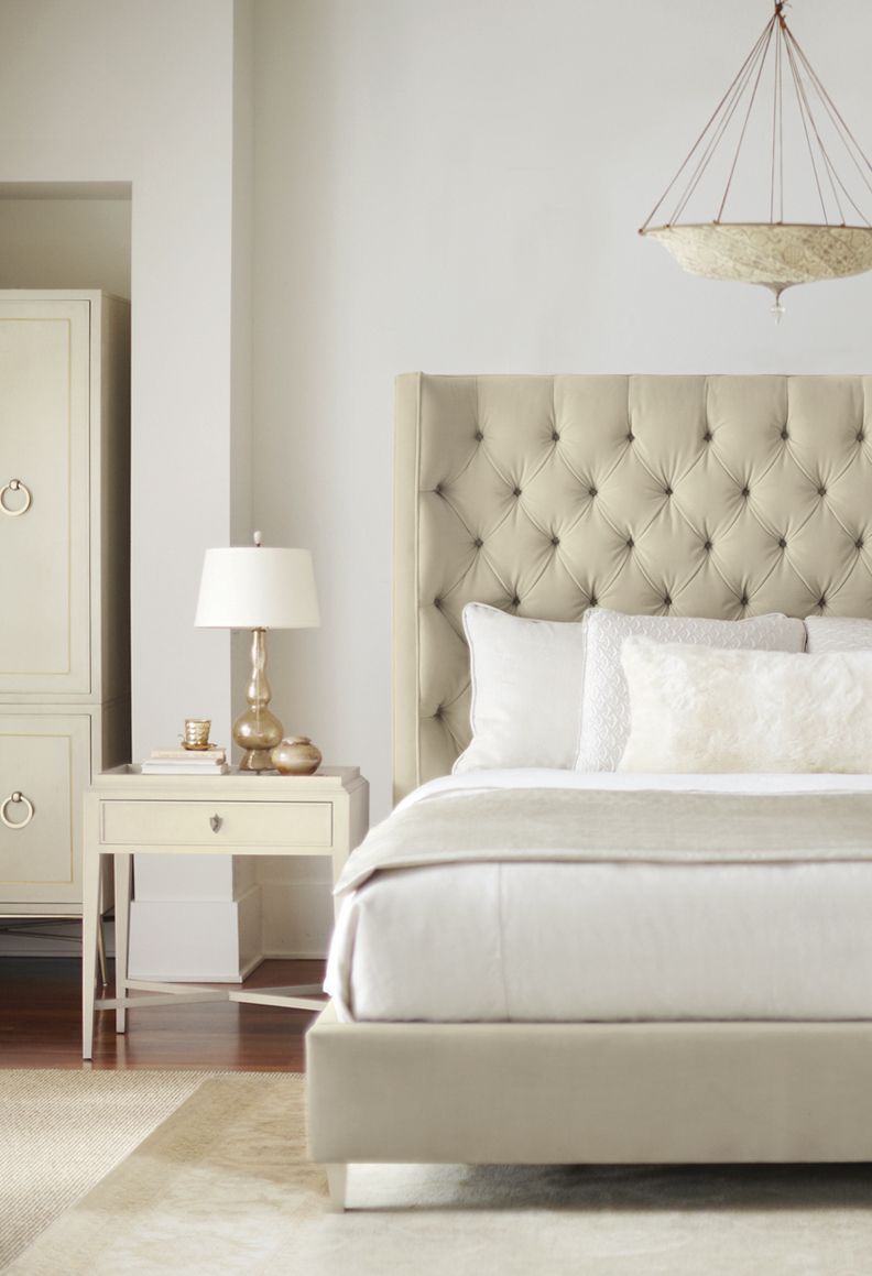 Best Bernhardt Salon Upholstered Panel Bed In White Sand Color Woven Also Available In Ivory 400 x 300