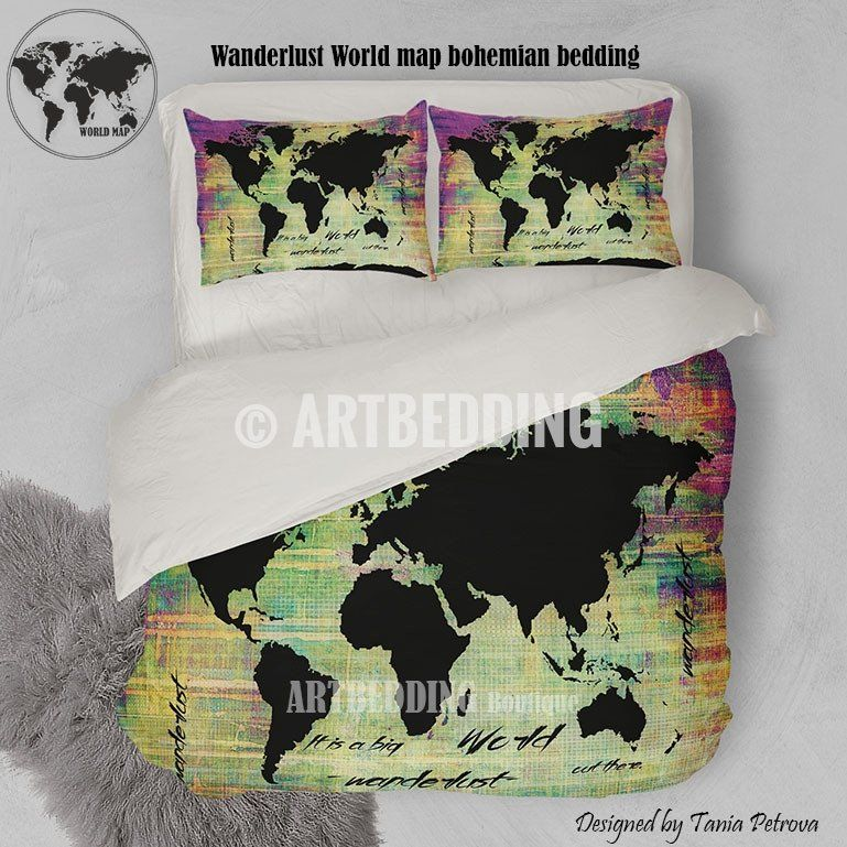 Watercolor world map beddingblack world map neon grunge duvet cover world map neon grunge print bedding world map art duvet cover set bohemian duvet gumiabroncs Gallery