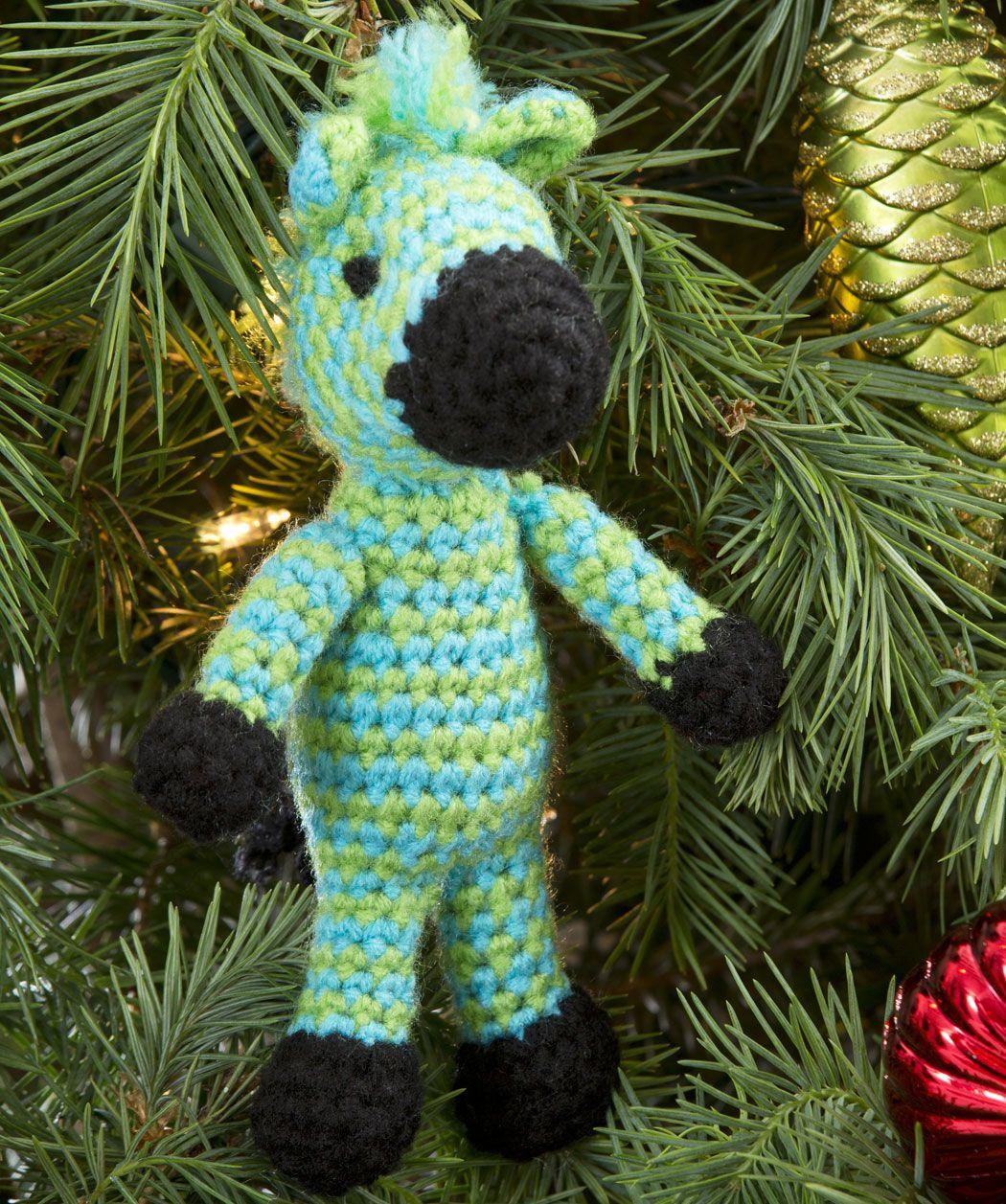 Zippy Zebra Ornament Crochet Pattern | Red Heart | crochet dolls_ ...