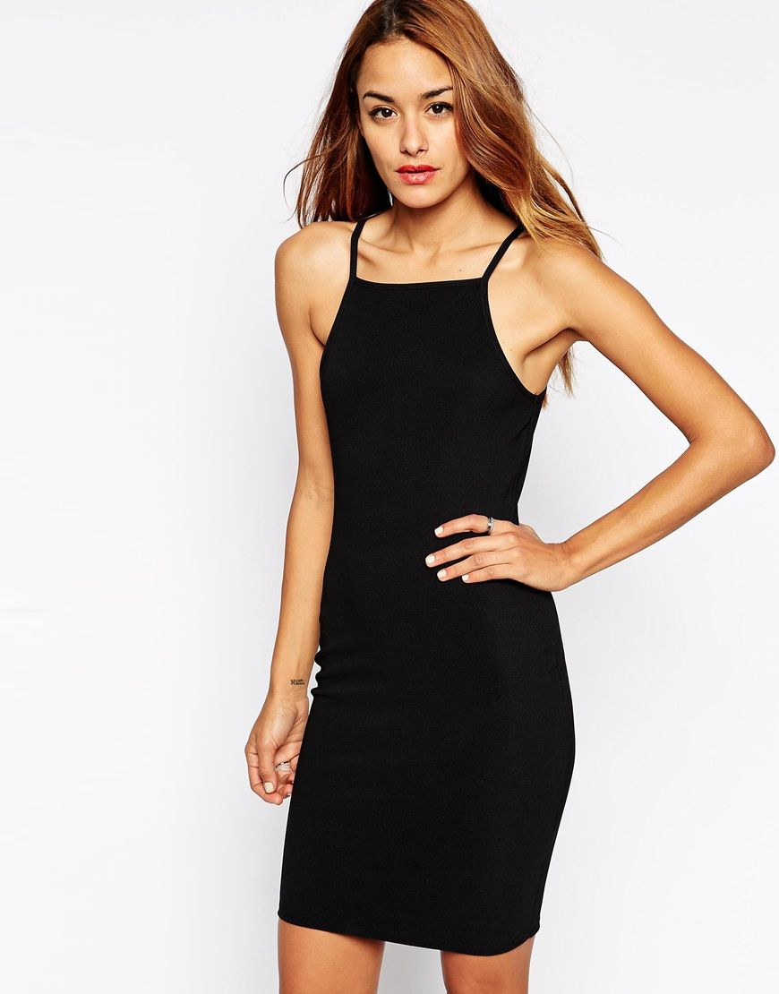ASOS 90s Bodycon Dress with High Neck in Rib | Wishlist | Pinterest