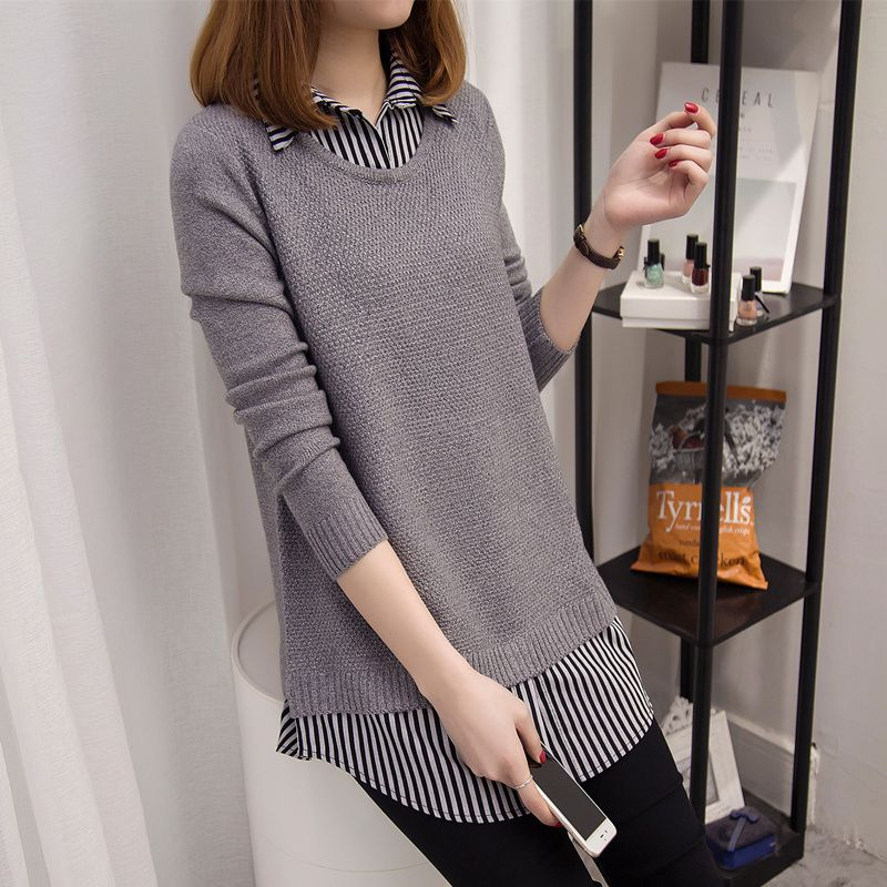 Medium-long pullover 2017 spring female slim basic sweater female shirt collar faux two piece top