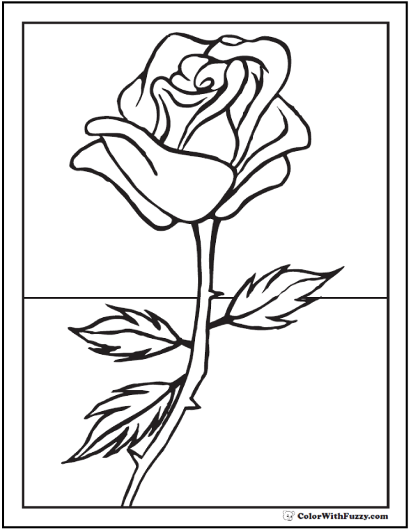 73+ Rose Coloring Pages Customize PDF Printables | Flower ...