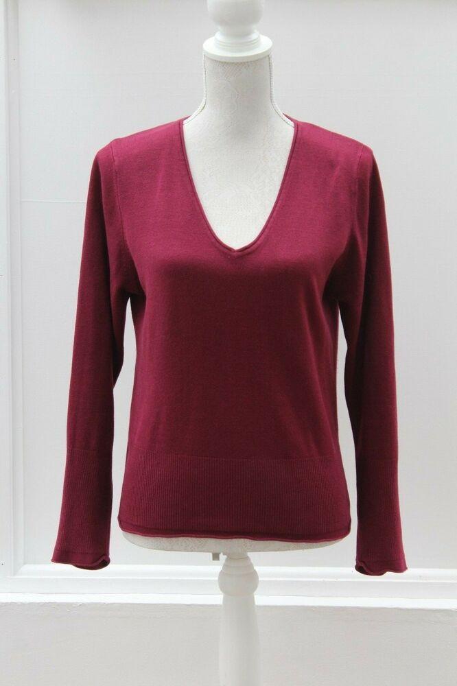 0350254f3d PER UNA Jumper Deep Pink Long Sleeve V-Neck Size 12 (488)  PerUna  Jumper   Casual