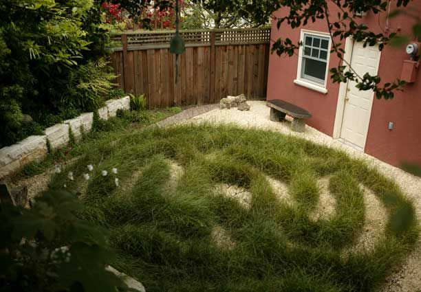 urban labyrinth garden with decomposed dg granite and texas cream stone stacked walls