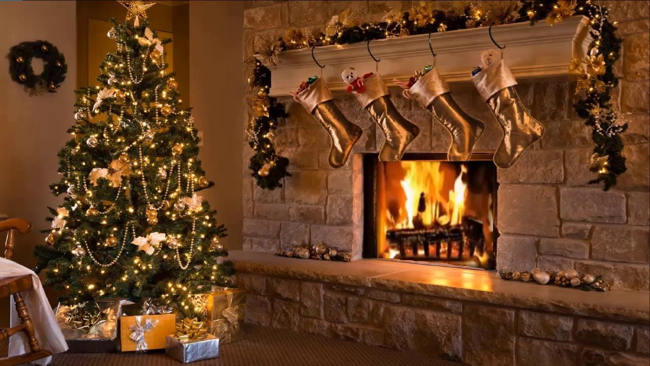 Classic Christmas Music with a Fireplace and Beautiful Background (2 ...