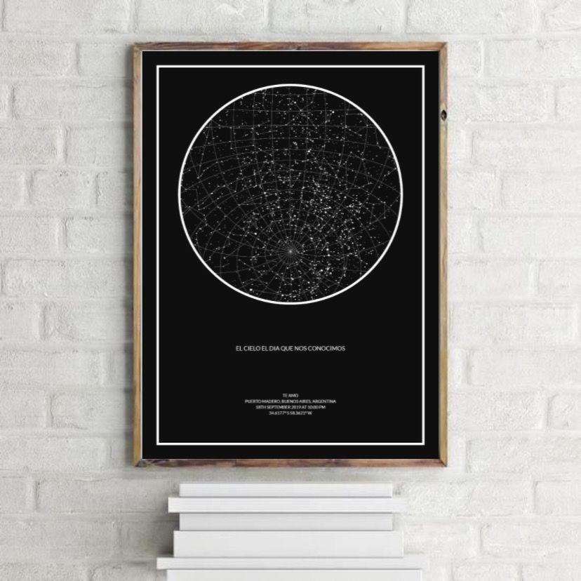 Mapa Estelar Personalizado Descarga Digital 200 00 Estrellas Para Imprimir Mensajes De Texto Bonitos Mapas