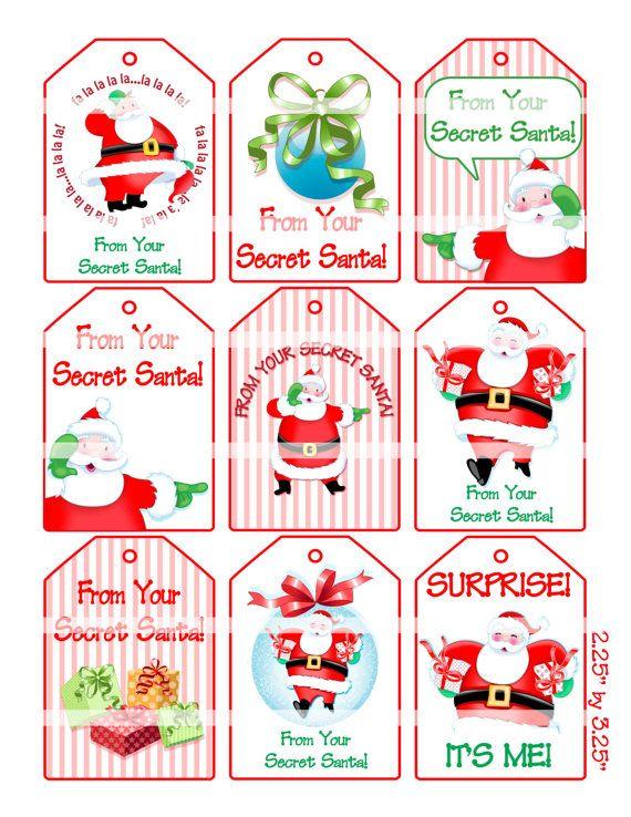 Printable Secret Santa Gift Tags Secret Santa Gift