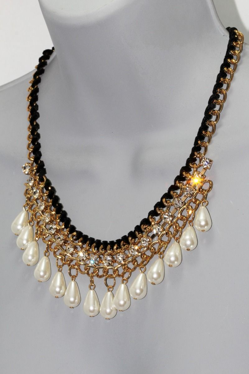 d96913482859 Collar Moda Dorado Perlas Gota