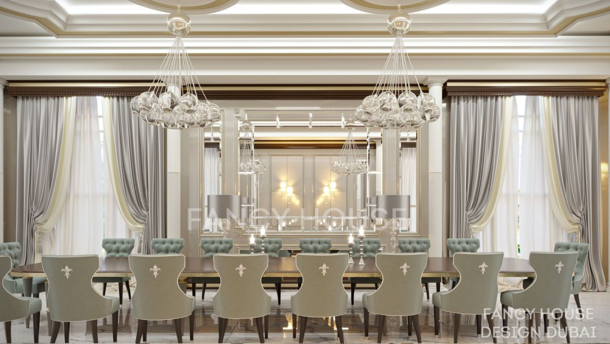 Luxury Dining Room Classic Arabic Interior Design Dubai Rich