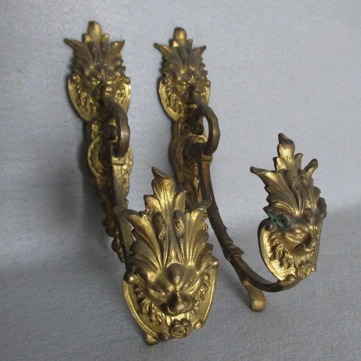 Pair French Gilt Brass Curtain Tiebacks With Lions Gargoyle Faces
