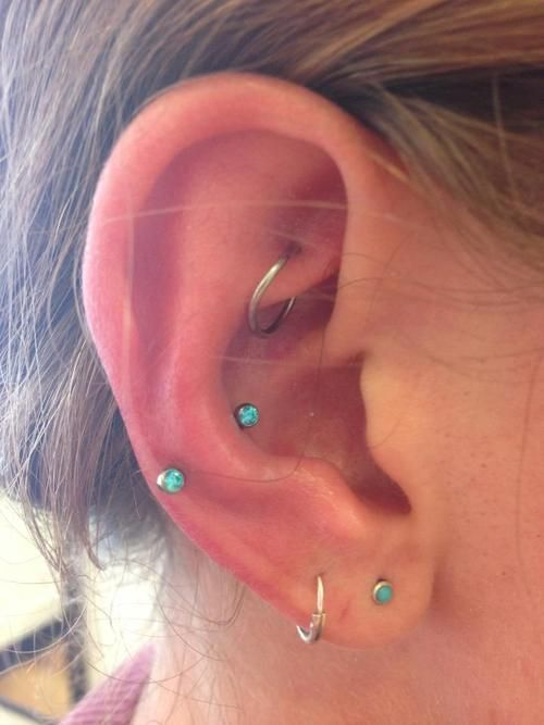 pretty teal ear peircings #earpeircings pretty teal ear peircings #earpeircings
