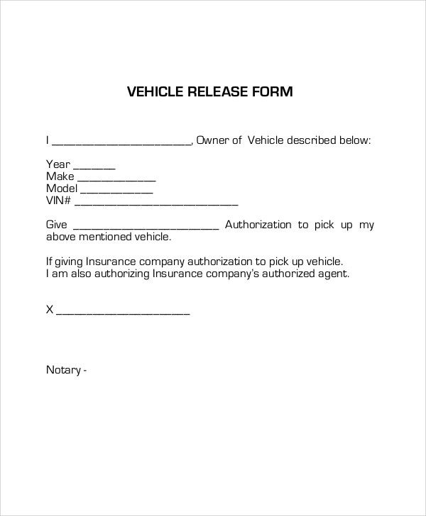 Sample Vehicle Release Form Examples Word Pdf Authorization Letter