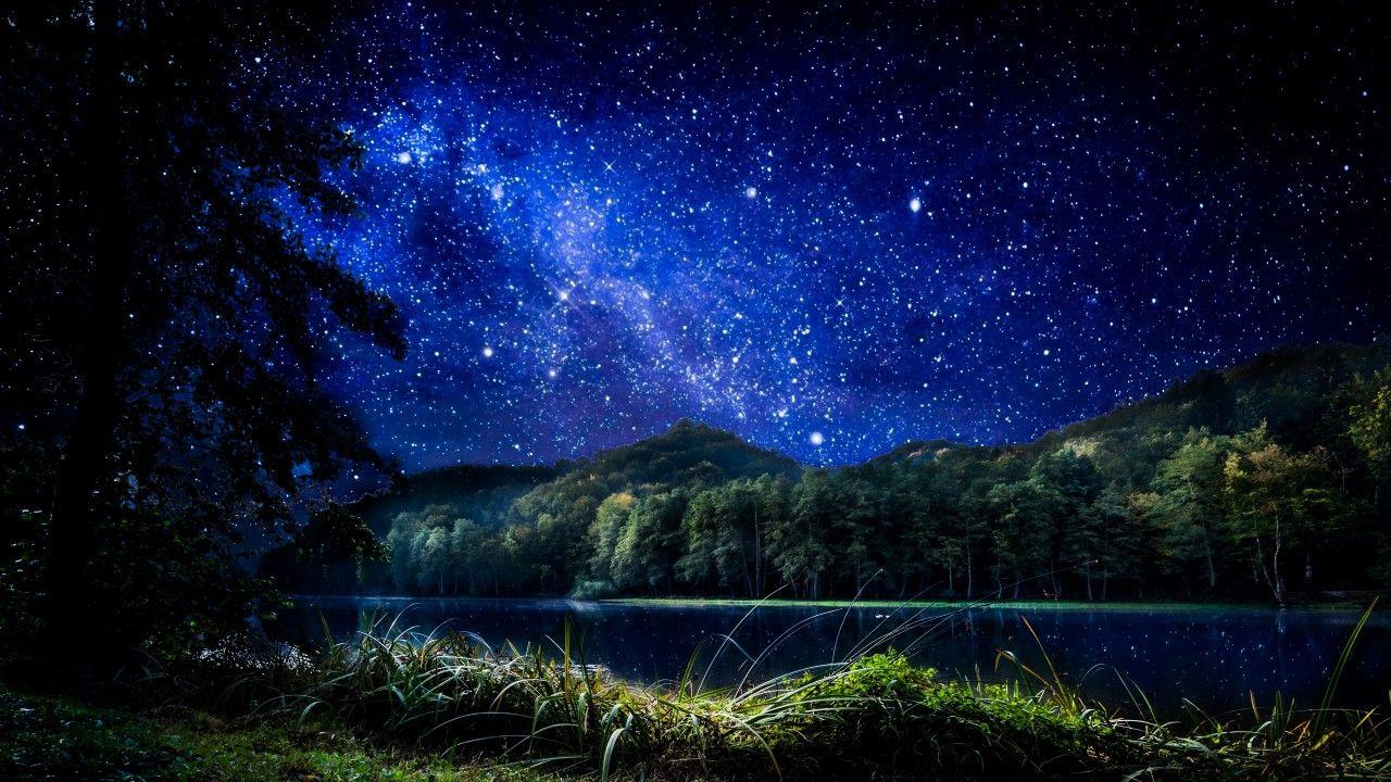 Starry Night Sky Lake Hill Desktop Wallpaper Altometa Starry Night Sky Sky Lake Beautiful Night Sky Wallpaper starry sky stars forest night