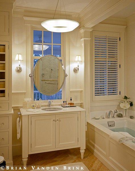 Bathroom Vanity In Front Of Window cabinet and trimwork mirror in front of window | bathrooms