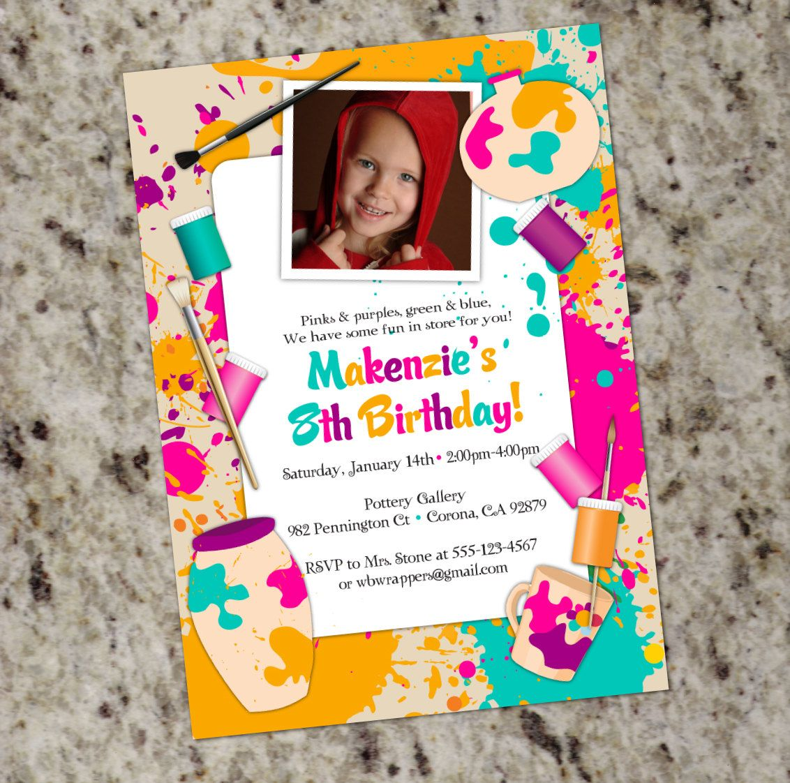 Paint Your Own Pottery Birthday Party Invitation - Printable Design ...