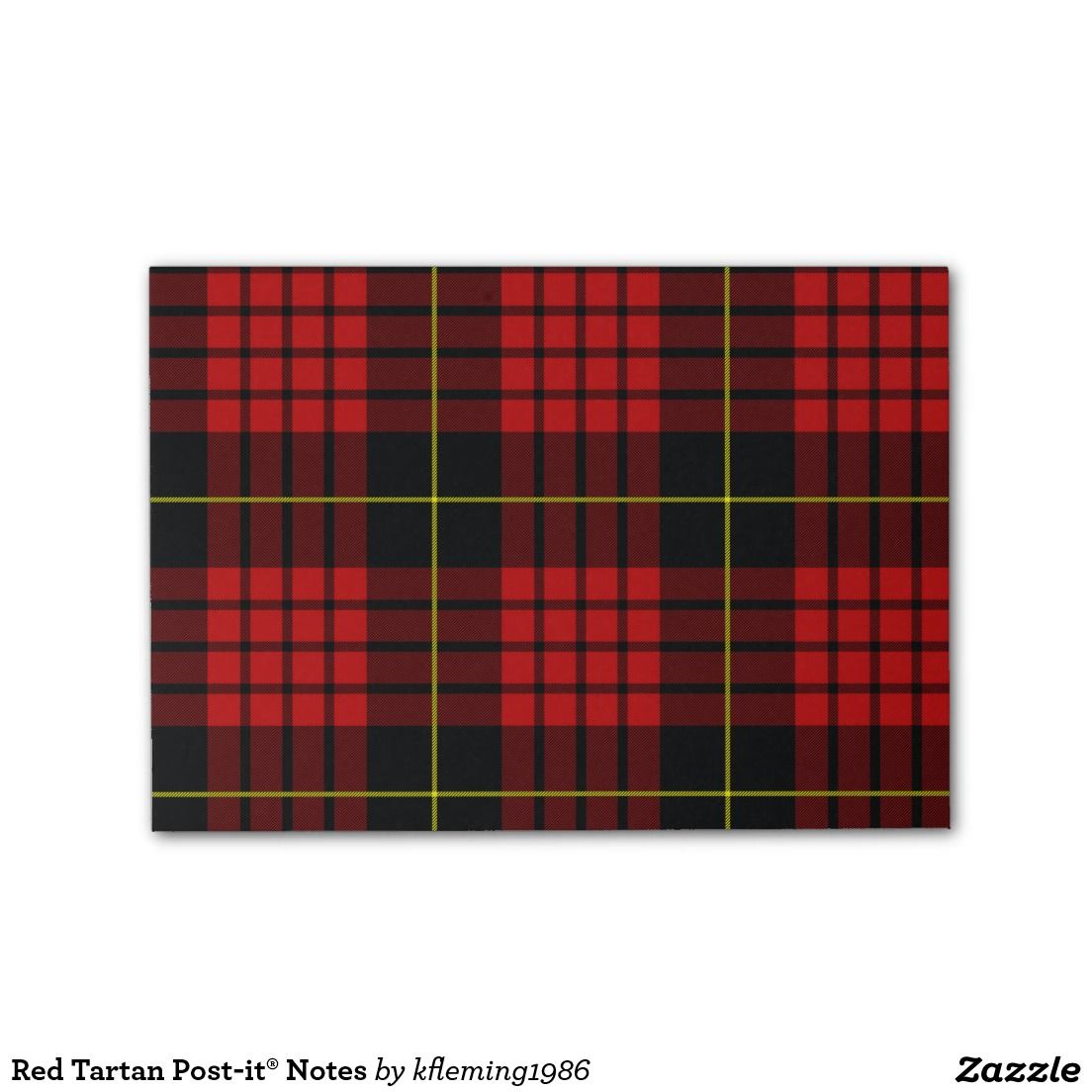 Red Tartan Post-it® Notes | Zazzle com | Post-it Notes | Red