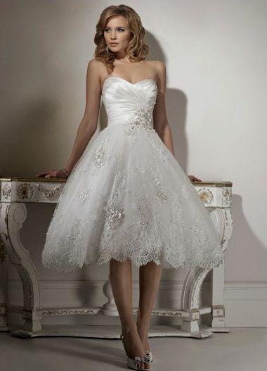 Engrossing Fl Sweetheart Neckline Lace Satin Tea Length Bridal Dresses Short Wedding