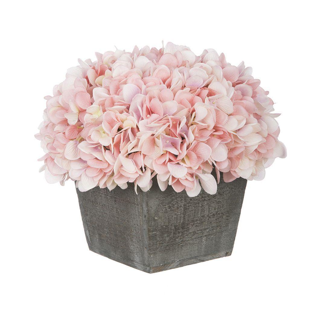 Artificial Hydrangea In Grey Washed Wood Cube Flower Arrangements