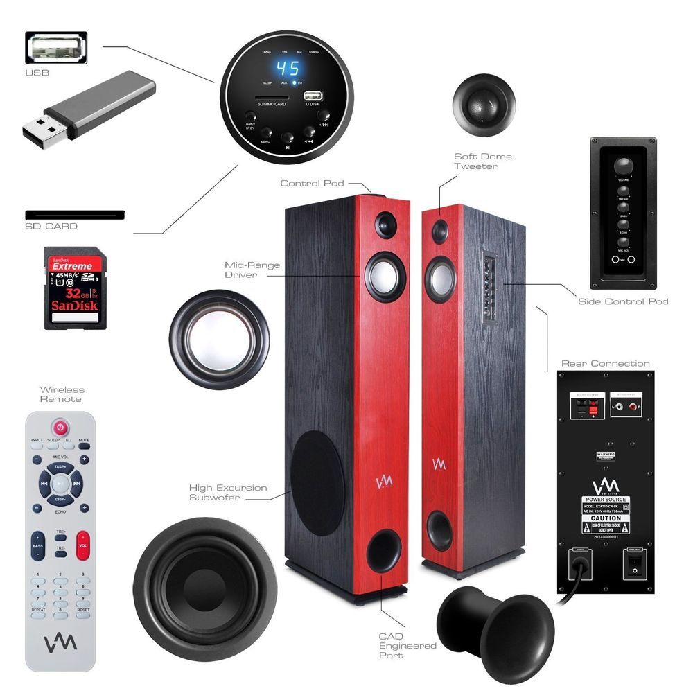 subwoofer karaoke portable standing bluetooth item handsfree speakers in with wireless floorstanding light stereo from floors floor output speaker ideal radio led fm