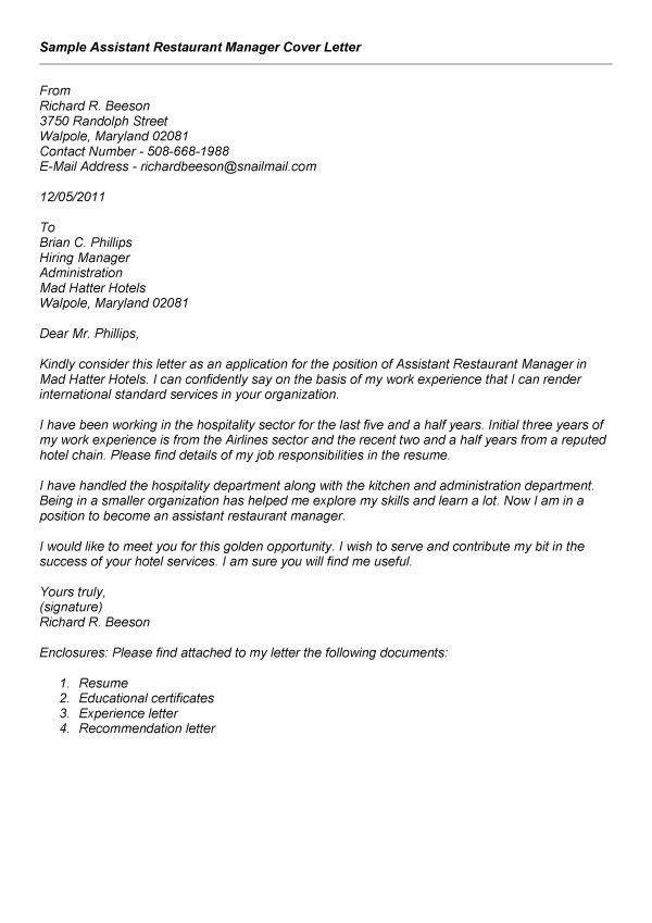 sle recommendation letter for restaurant manager  Cover letter sample  Resume Manager resume