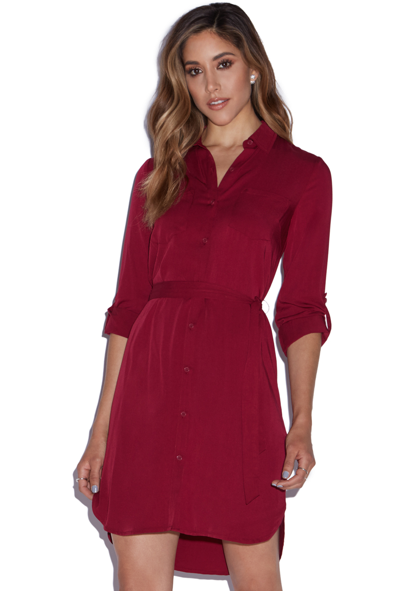High low shirt dress with dual front pockets and removable