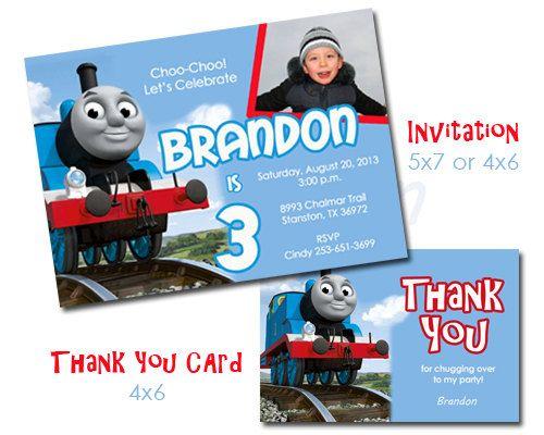 Thomas the Train Birthday Party Invitation Set by ScriptureWallArt