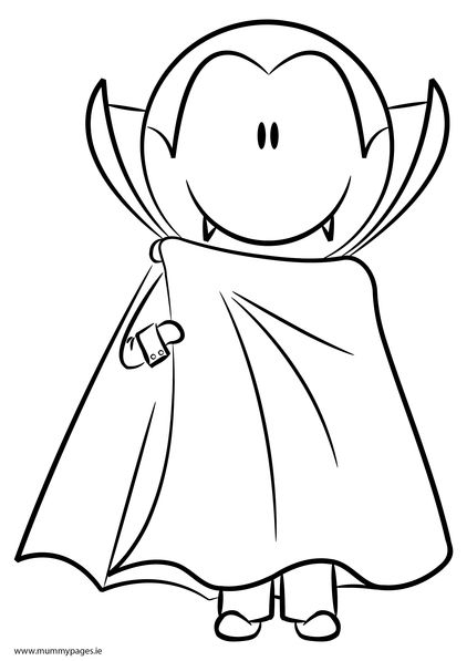 Child Dressed As Dracula Colouring Page Mummypages Ie Dracula Coloring Pages