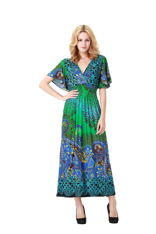 Women Bohemian V Neck Vintage Printed Ethnic Style Summer Shift ...