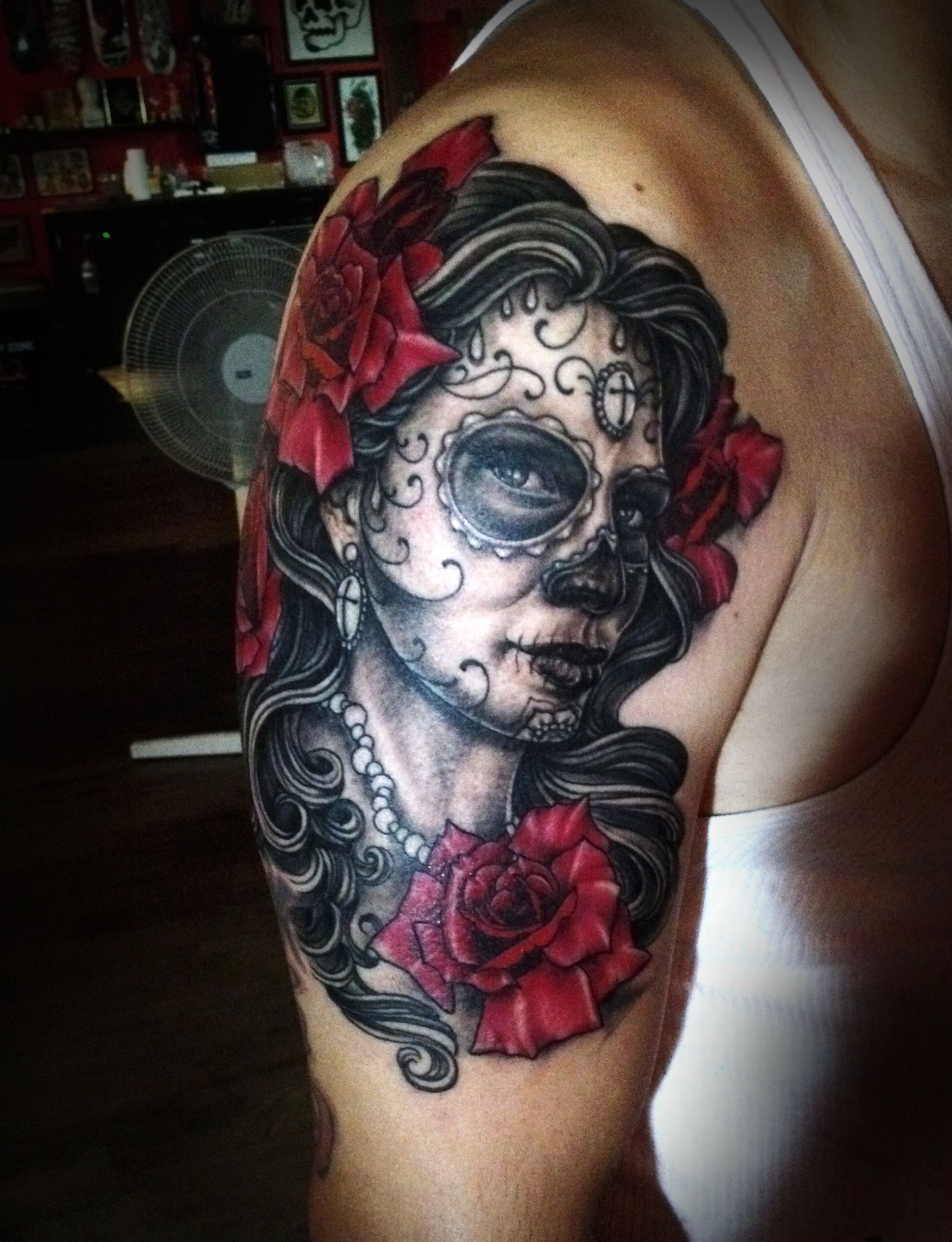 Dia de los Muertos portrait tattoo by Noe Lopez   Contra Tattoo ...