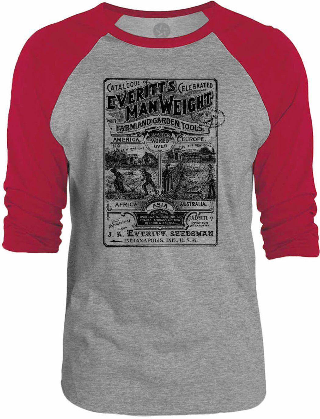 Big Texas Everitt's Man Weight Vintage Advert 3/4-Sleeve Raglan Baseball T-Shirt