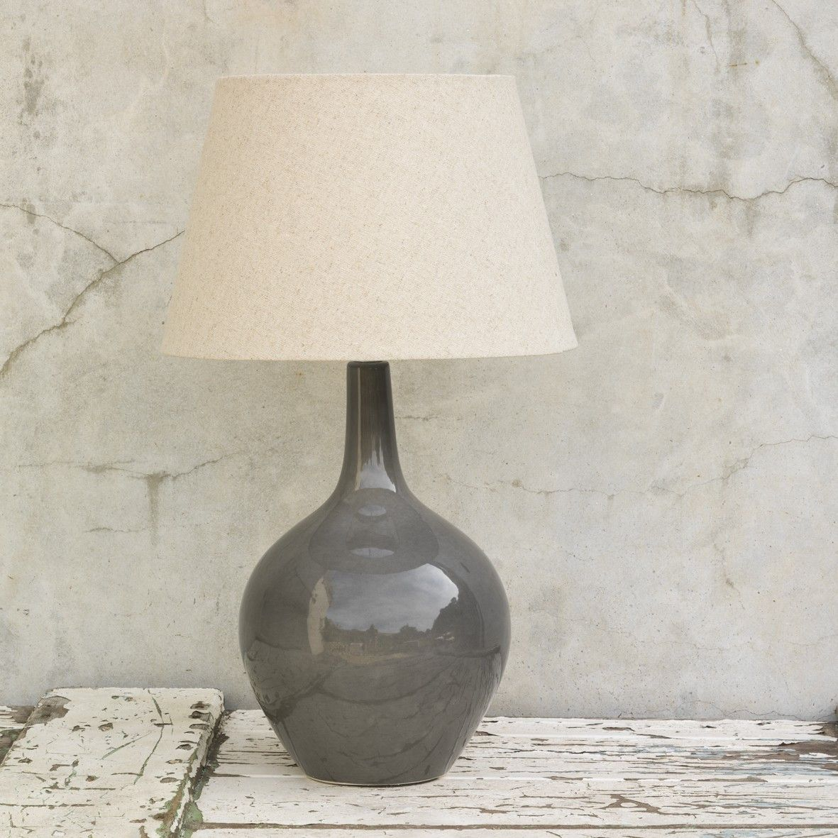 Ceramic Grey Onion Lamp