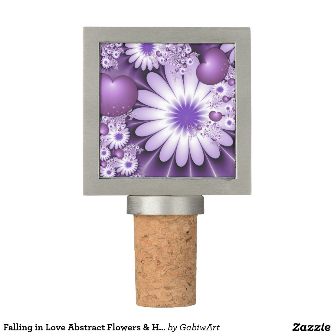 Falling in Love Abstract Flowers & Hearts Fractal Wine Stopper