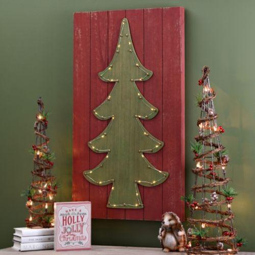 pre lit christmas tree wood plank plaque kirklands