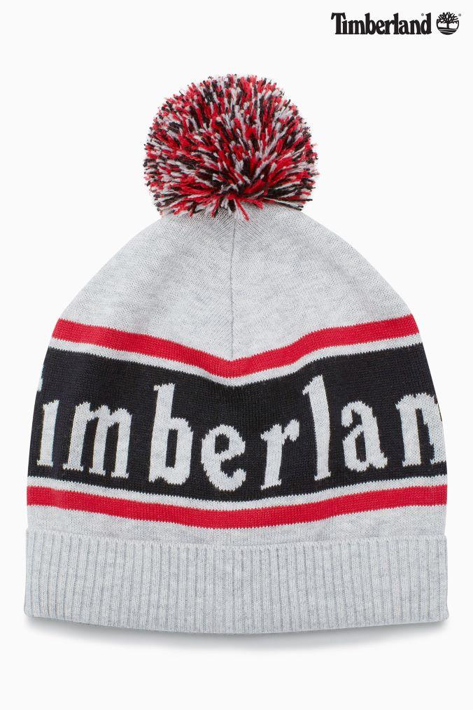 Boys Timberland Logo Pom Pom Hat - Blue  1a91e197c8da