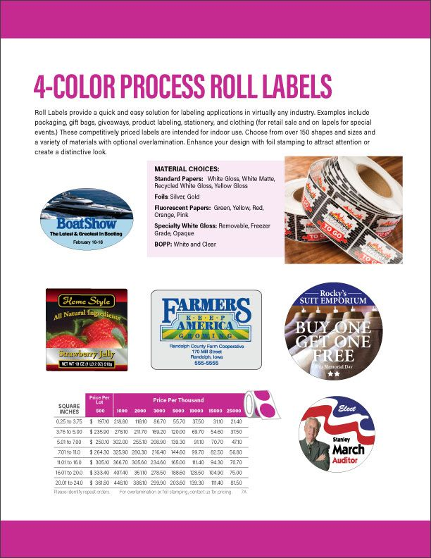 Labels and Label Accessories from Stouse   Promotional