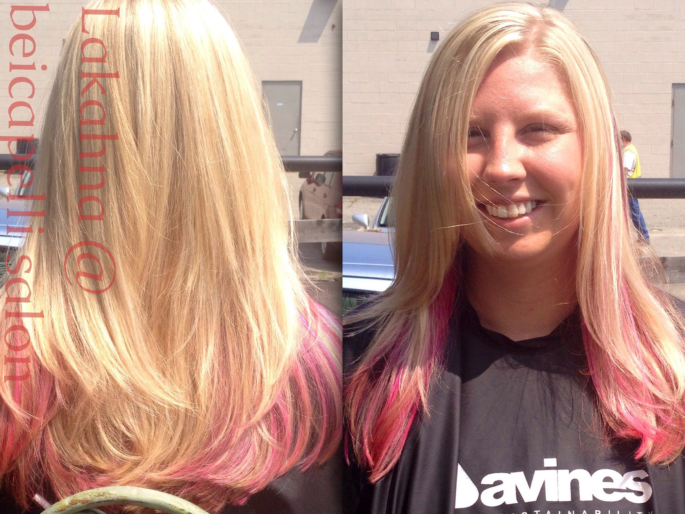 Blond highlights and pink lowlights i did using embee meche