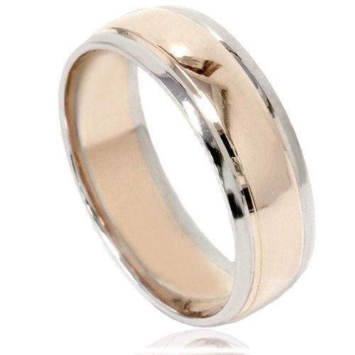 mens two tone wedding ring 14k white yellow gold 6mm high polished