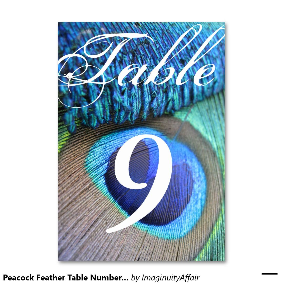 Peacock Feather Table Number cards Table Cards
