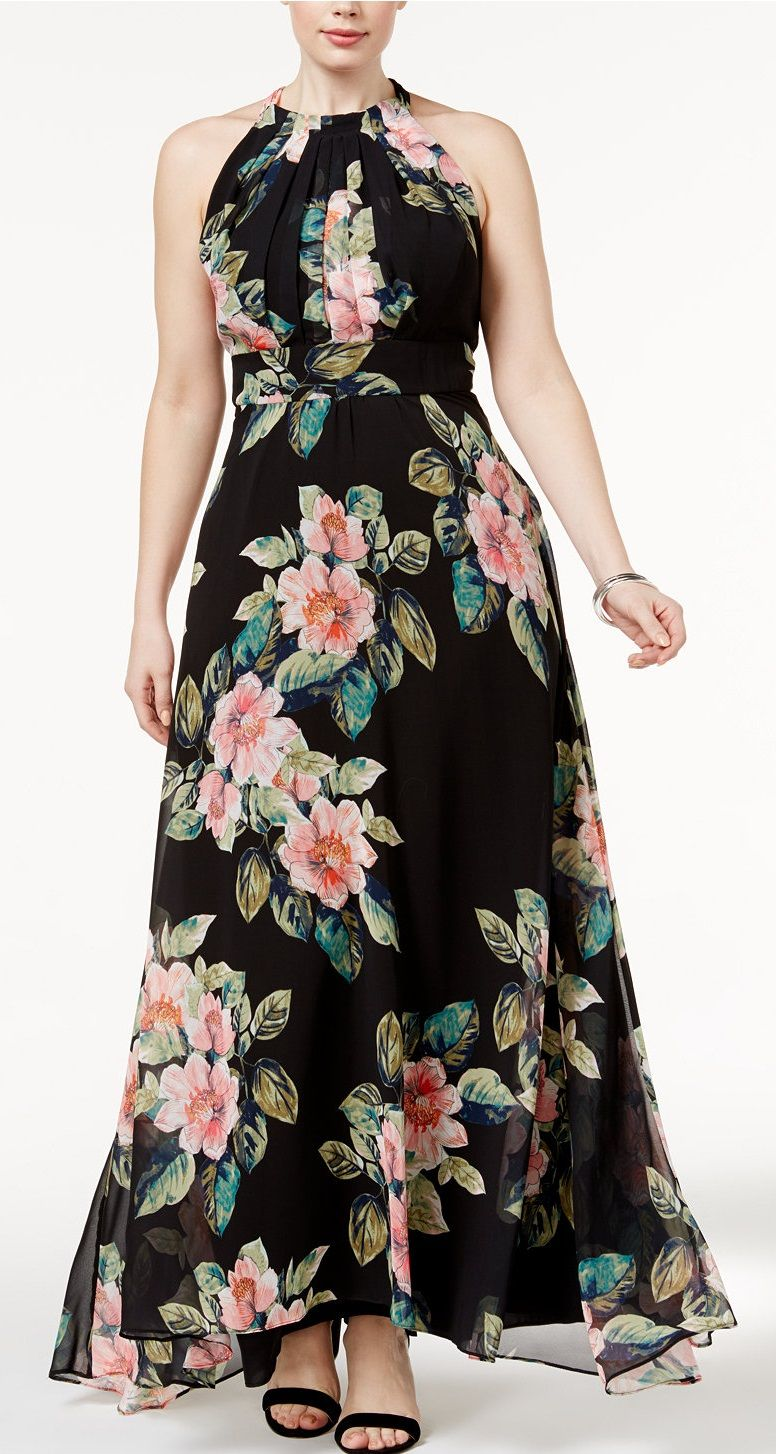 Pink and Black Plus Size Maxi Dresses