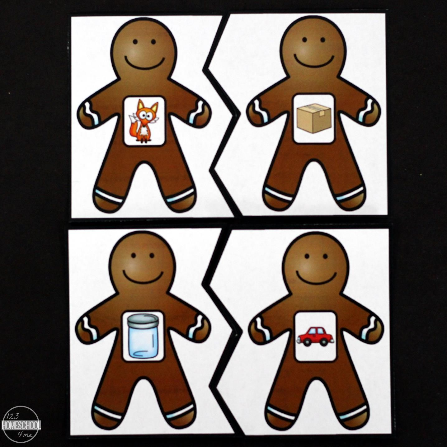 Free Gingerbread Rhyming Puzzles