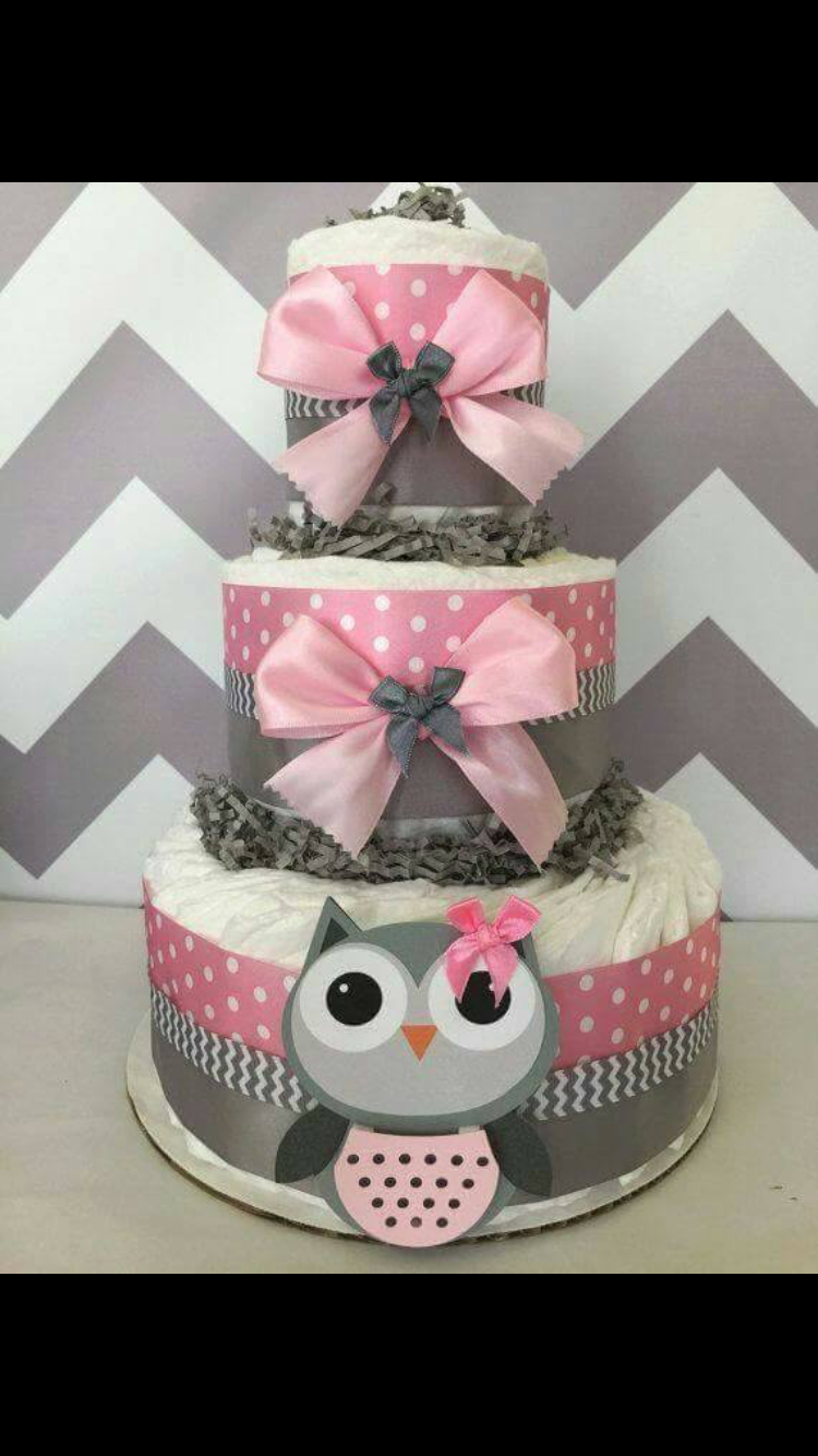 This But No Pink Baby Shower Owl Diaper Cakes Pamper Cake